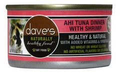Food - Dave's Pet Food Naturally Healthy Grain-Free Ahi Tuna Dinner With Shrimp, Case Of 24, 3-oz