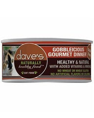 Food - Dave's Pet Food Naturally Healthy Grain-Free Gobbleicious Gourmet Dinner, 24 Cans, 5.5-oz