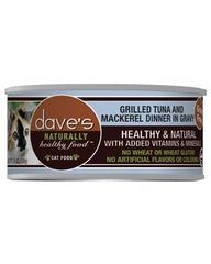 Food - Dave's Pet Food Naturally Healthy Grain-Free Grilled Tuna & Mackerel Dinner (in Gravy), 24 Cans, 5.5-oz