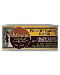Food - Dave's Pet Food Naturally Healthy Grain-Free Poultry Platter Dinner, 24 Cans, 5.5-oz