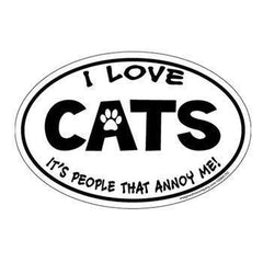 For Cats,Gifts For Cat Lovers - I Love Cats...People Annoy Me Oval Magnet