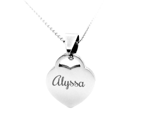 Engraved Stainless Steel Small Padlock Heart Necklace Pendant