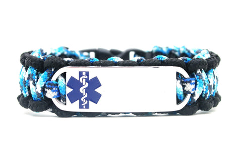 275 Paracord Bracelet with Engraved Small Rectangle Stainless Steel Medical Alert ID Tag - Blue