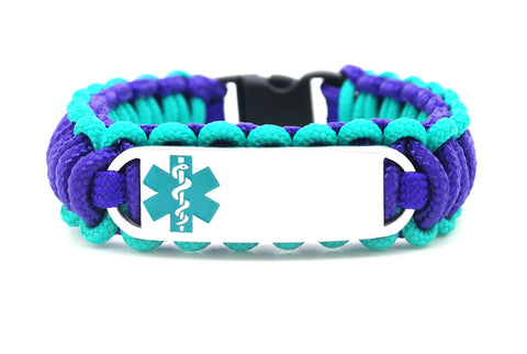 275 Paracord Bracelet with Engraved Small Rectangle Stainless Steel Medical Alert ID Tag - Teal