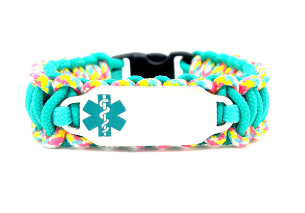 275 Paracord Bracelet with Engraved Stainless Steel Medical Alert ID Tag - Teal