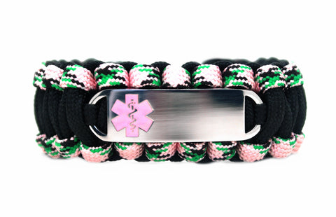 550 Paracord Bracelet with Small Rectangle Engraved Stainless Steel Medical Alert ID Tag - Light Pink