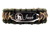 550 Paracord Bracelet with Deer Engraved Stainless Steel ID Tag