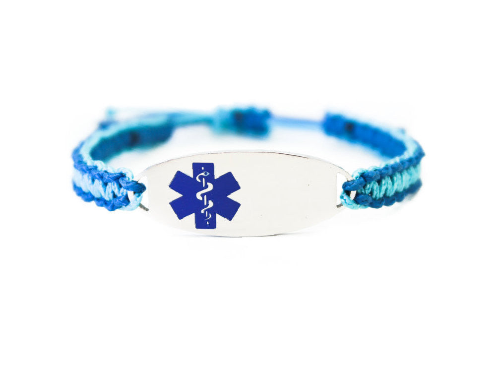 b5208ea2c092f Micro Paracord Bracelet with Engraved Stainless Steel Medical ID Tag - Blue
