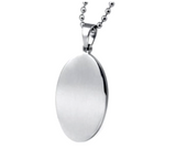 Engraved Stainless Steel Oval Necklace Pendant