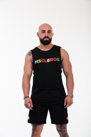 19/20 Spring Colourful Black Muscle Tee