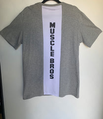 AW19 Mens Tshirt Two Tone Vertical - White/Grey