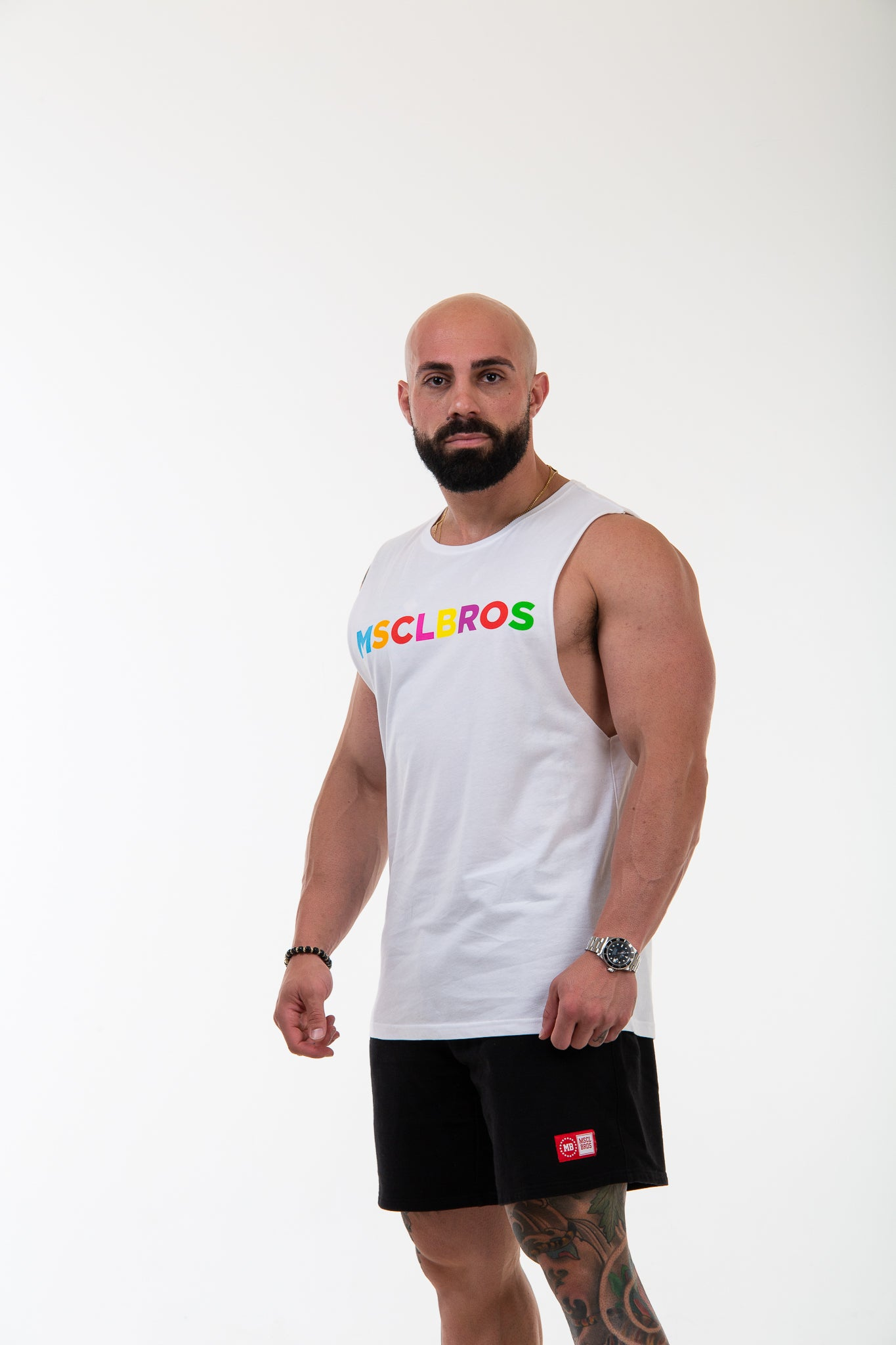 19/20 Spring Colourful White Muscle Tee