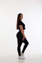 Womens Black Scrunch Bum Tights - Full Length