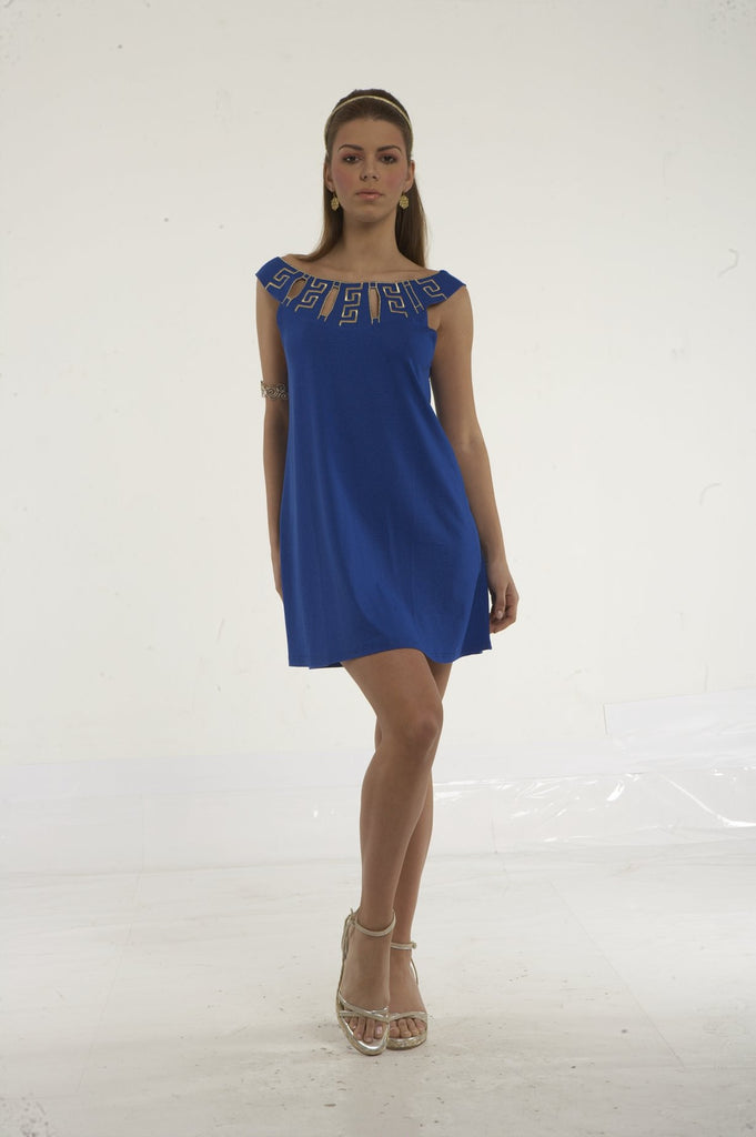 Mini dress with round motif embroidery neck