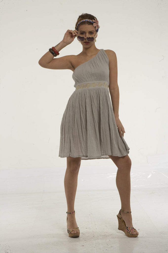 One shoulder cheesecloth dress with greek spiral embroidery on waist