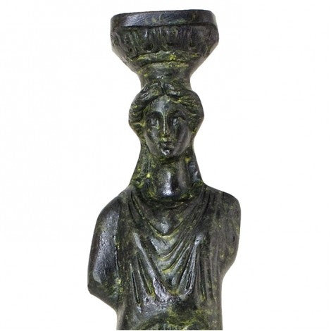 Caryatid female figure used as a support instead of a column (bronze natural oxydite)