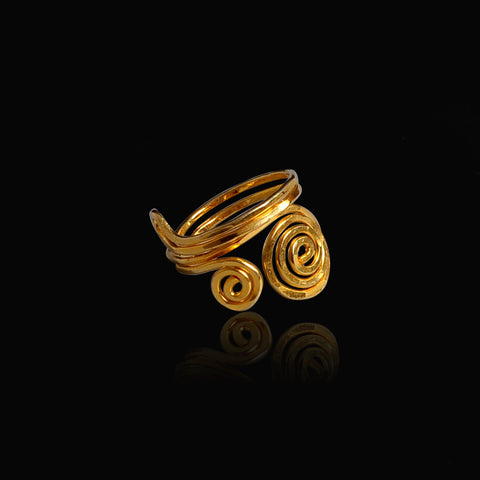 Gold plated ring long life spirals