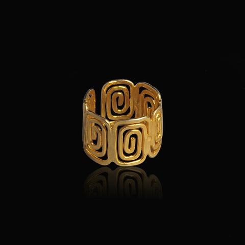 Gold plated ring meandros symbol of eternity