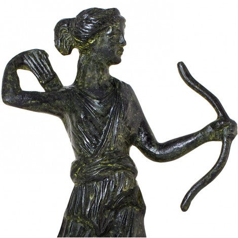 Artemis goddess of the hunt with bow and arrows (bronze natural oxydite)