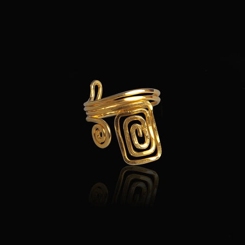Gold plated ring symbol of eternity and long life spiral
