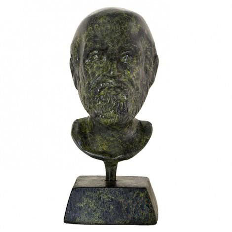 Bust of Hippocrates 9cm (bronze natural oxydite)