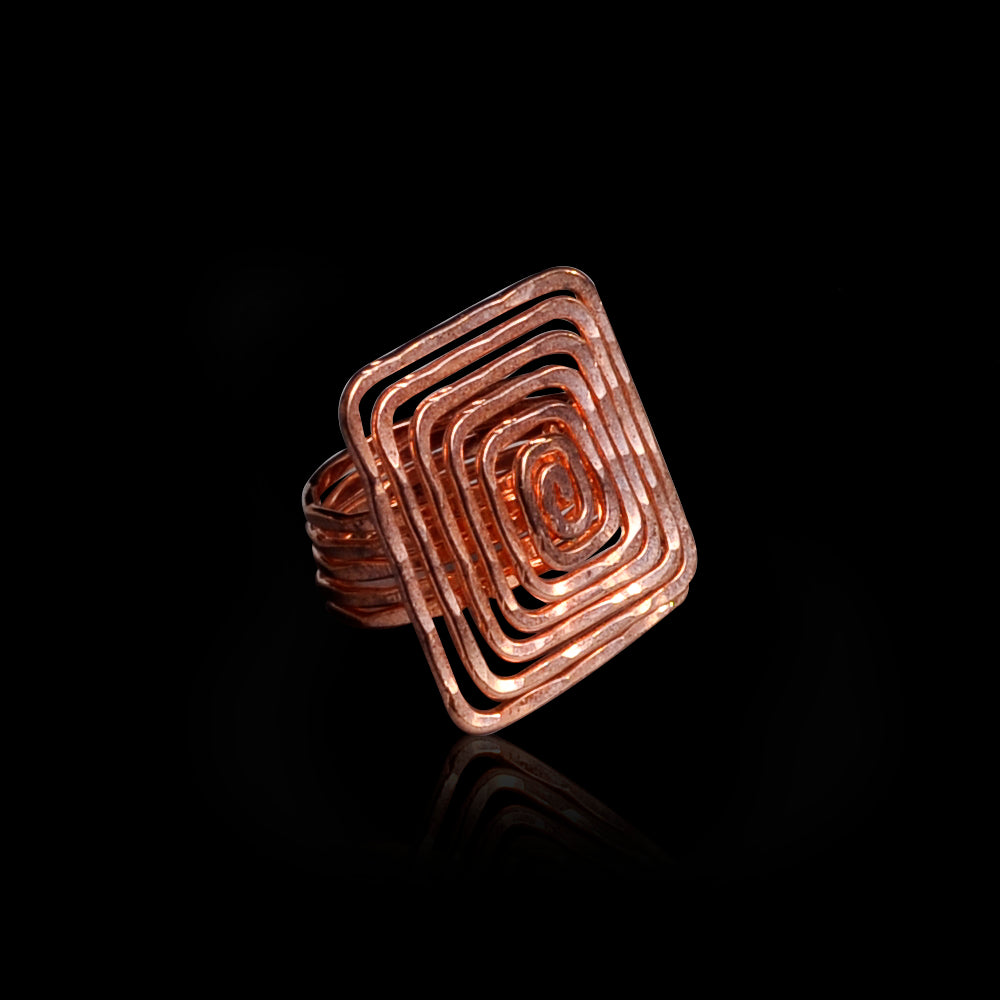 Pink gold plated ring meandros symbol of eternity