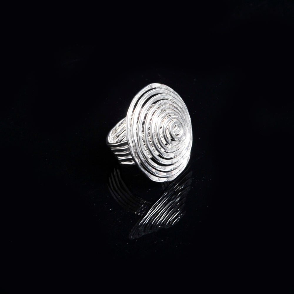 Silver plated ring long life spiral