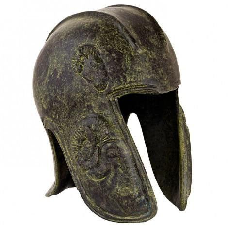 Helmet with Goat 10cm (bronze natural oxydite)