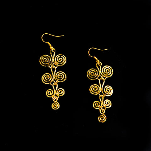 Gold platted earrings long life spirals