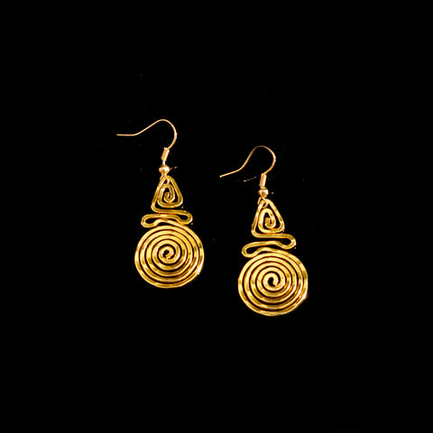 Gold plated earrings long life spiral