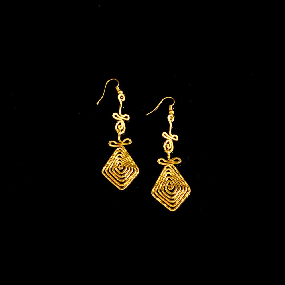 Gold platted earrings meandros symbol of eternity