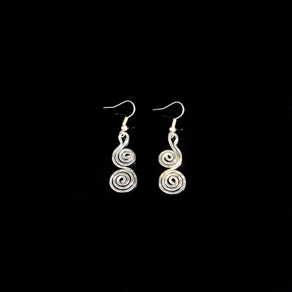 Silver platted earrings long life spirals
