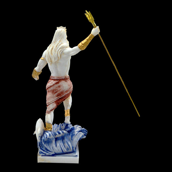 Poseidon god of the sea with a trident and a little dolphin 18cm