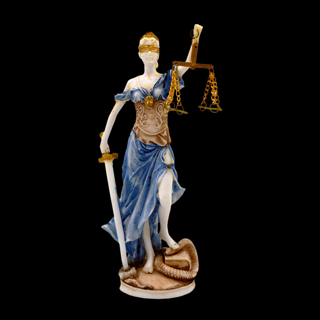 Justice with blindfold, a balance, and a sword (blue - brown )