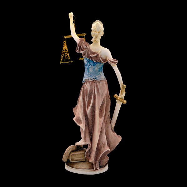 Justice with blindfold, a balance, and a sword (blue - pink )