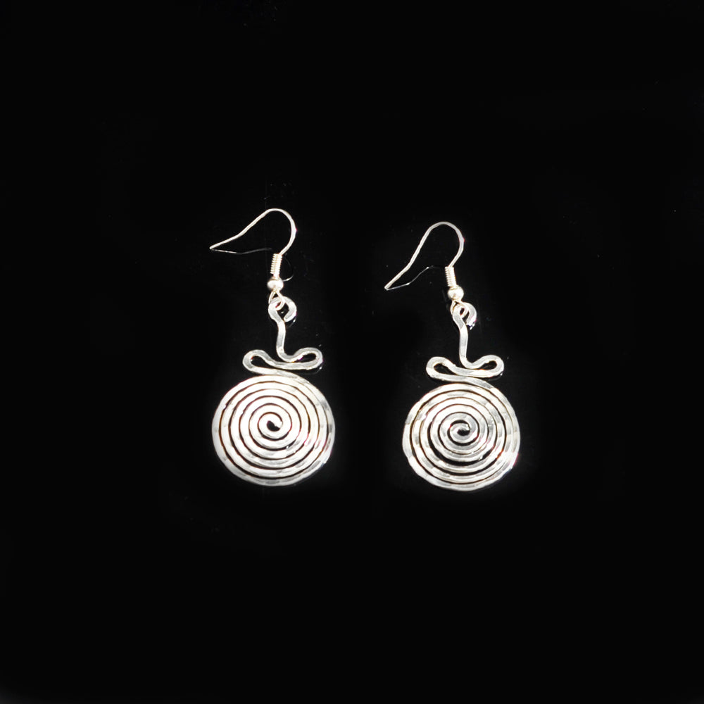 Silver platted earrings long life spiral