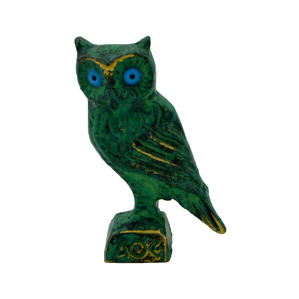 Owl of Athena with blue eyes (bronze natural oxydite) 4.5cm