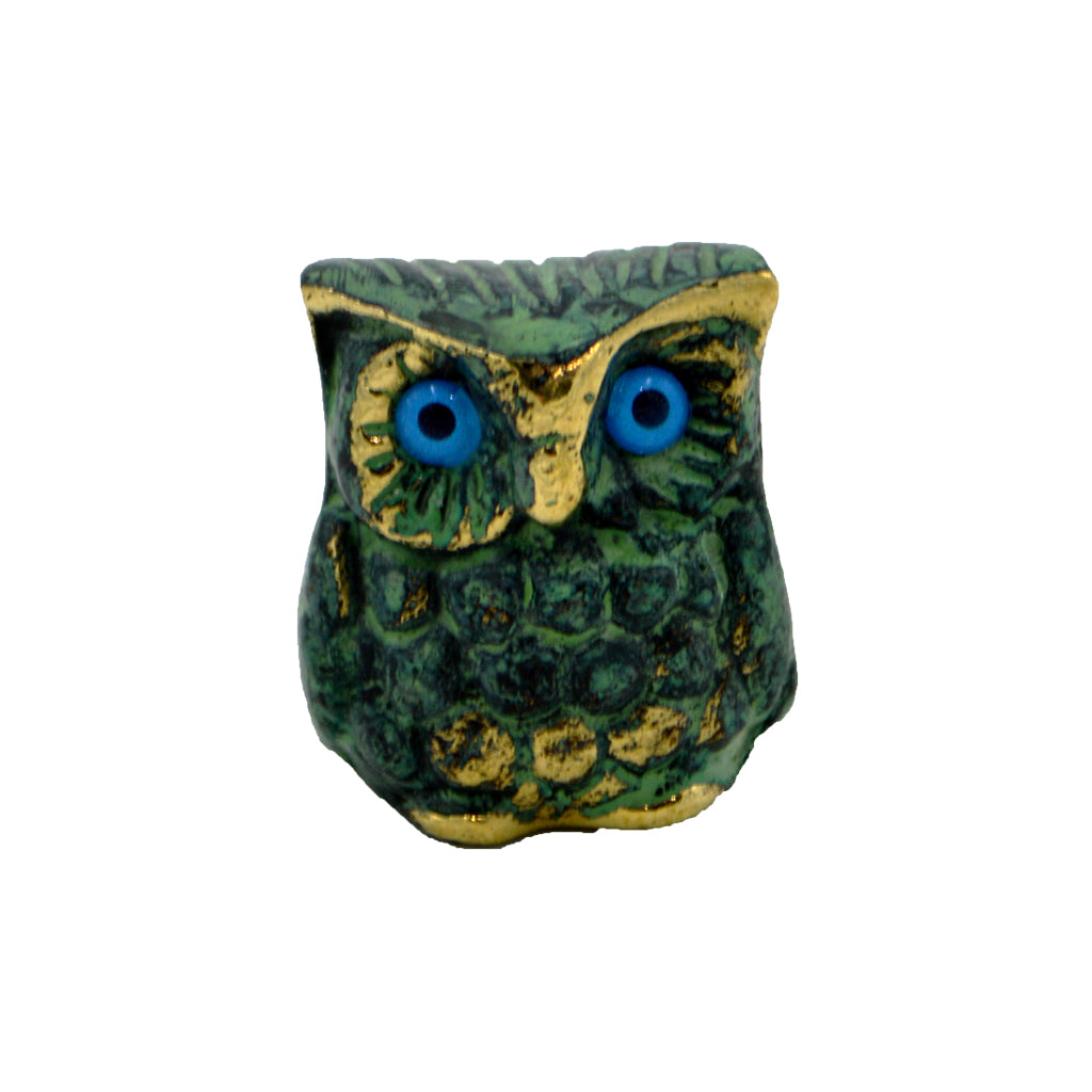 Owl of Athena with blue eyes (bronze natural oxydite) 2.5cm