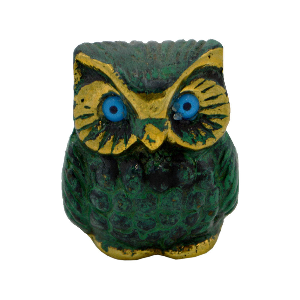 Owl of Athena with blue eyes (bronze natural oxydite) 4cm
