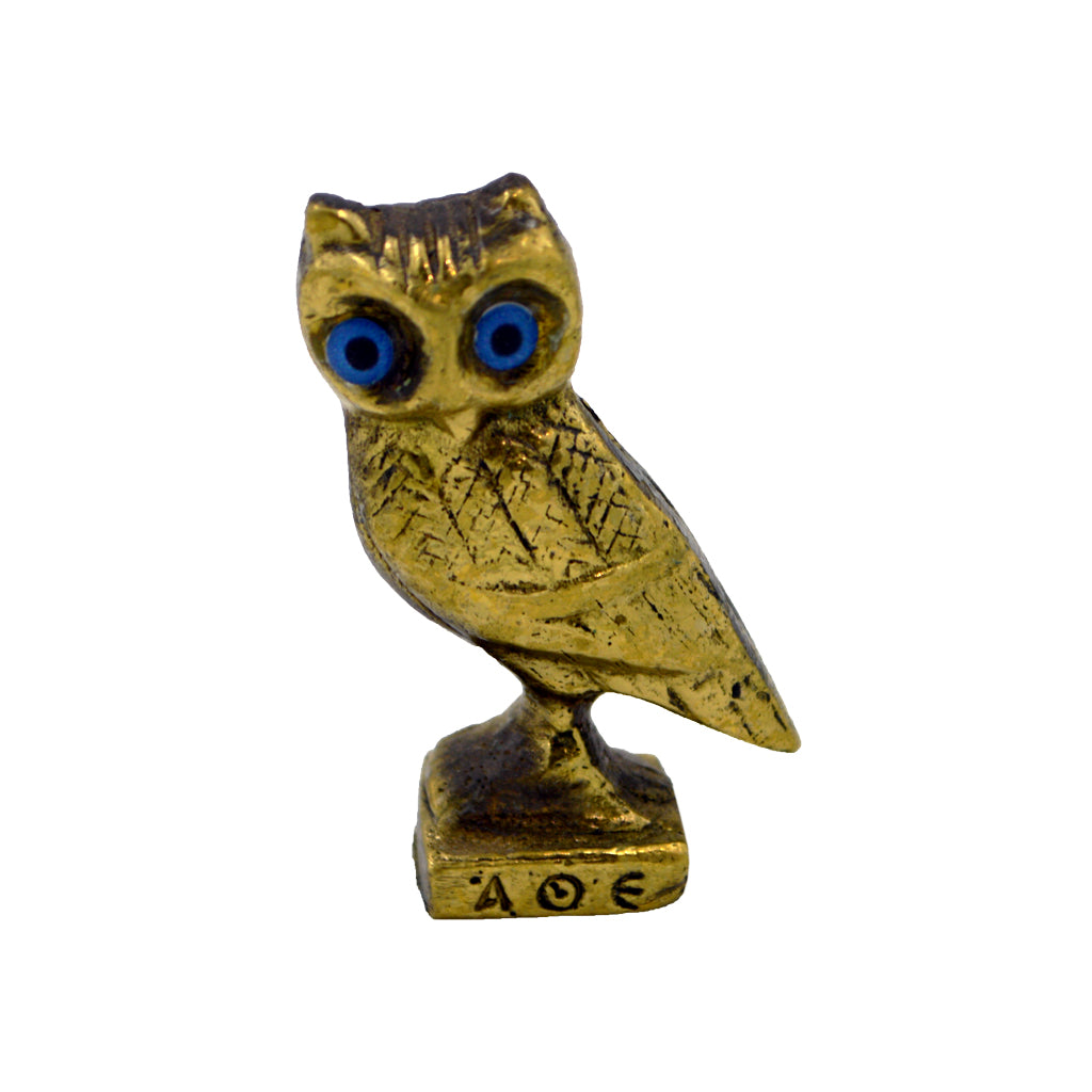 Owl of Athena gold with blue eyes
