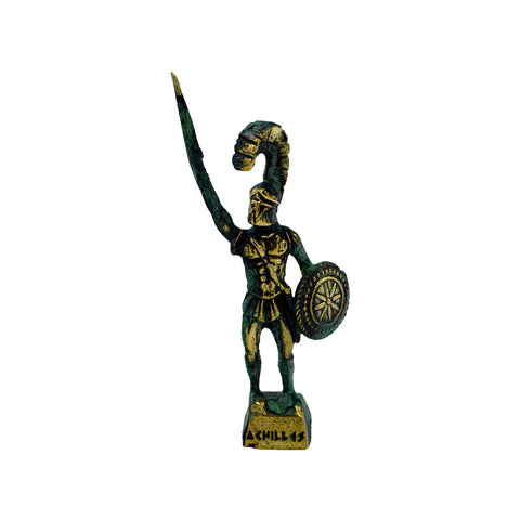 Achilles Greek hero with sword and shield (bronze natural oxydite)