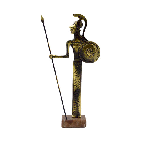 Athena goddesses of wisdom with spear and shield(owl) (bronze natural oxydite)