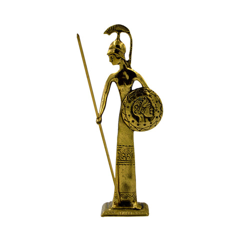 Athena goddesses of wisdom with spear and shield (gold) (bronze natural oxydite)