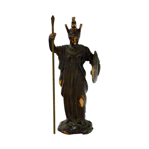 Athena goddesses of wisdom with helmet, spear and shield (bronze natural oxydite)