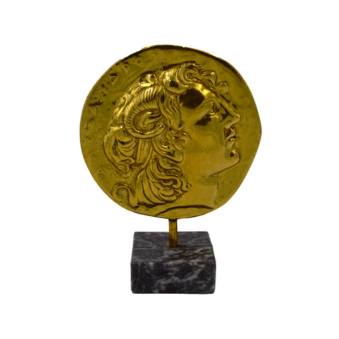 Coin with Alexander The Great with base (bronze natural oxydite) 21cm