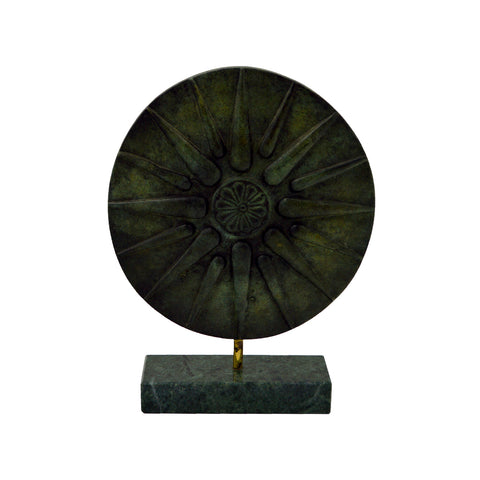 Coin with Vergina Sun with base (bronze natural oxydite) 20cm