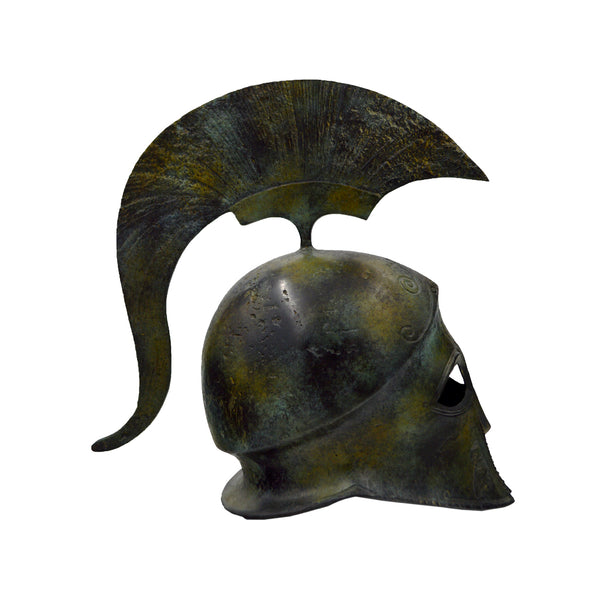 Athenian helmet with crest and owl (Athena's helmet) (bronze natural oxydite)