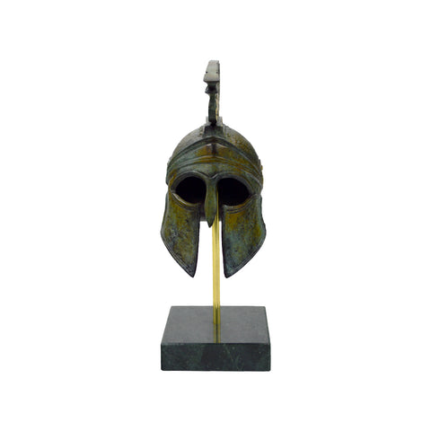 Corinthian helmet with crest on base (bronze natural oxydite)