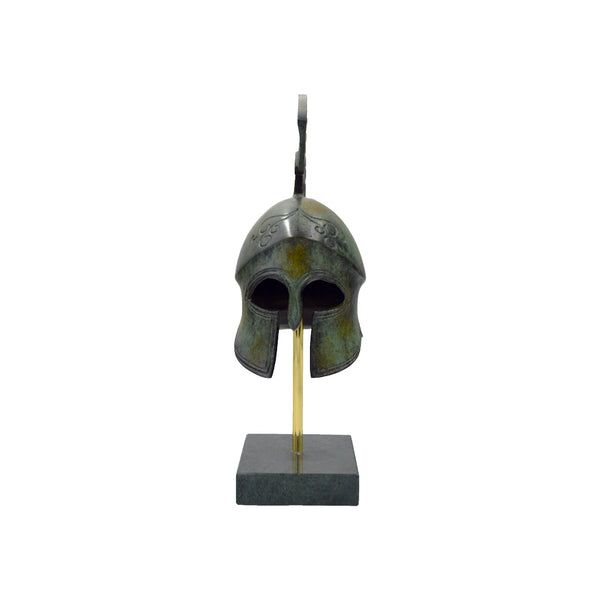 Corinthian helmet with high crest on base (bronze natural oxydite)