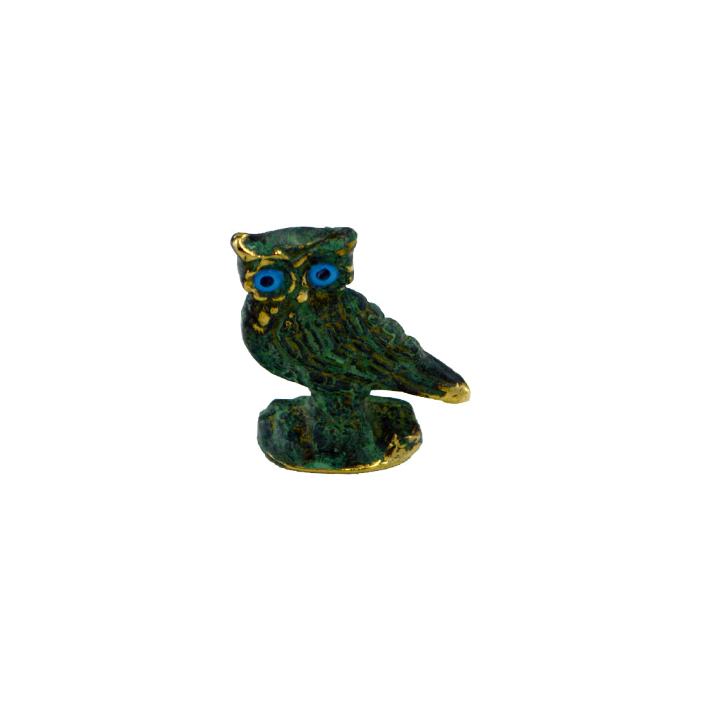 Owl of Athena with blue eyes (bronze natural oxydite) 6cm